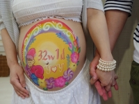 マタニティペイント 九州 お花と虹と赤ちゃん